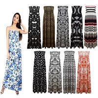 New Ladies Summer Sheering Boob Tube Bandeau Strapless Holidays Maxi Dress Top