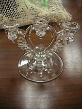 "Elegant Crystal Candle Holder 5"" Tall x 7"" Wt. 3 lbs. - Very Good Condition #48"