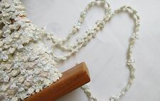 1 yd Ivory/Butter/Lt Green Silk Buds & Bows French Rococo Ribbon Rosette Trim
