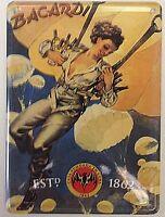 Bacardi Woman Parachute miniature metal sign / postcard  110mm x 80mm (hi)
