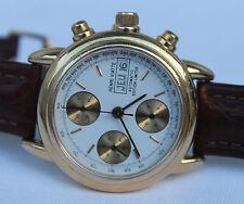 Vergoldete Armbanduhren aus echtem Leder mit Chronograph für Herren
