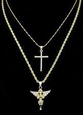 2pc Chain Set Angel + Cross Cz Pendants 14k Gold Plated Hip Hop Necklaces