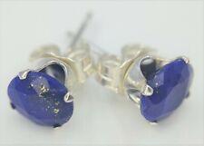 Lapis Lazuli Stud Earrings 5 MM Round 925 Silver Settings 1tcw Blue Stunning!