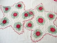 "2 Doilies  Hand Crochet  Red Stand Up Flowers Centers 18"" Round"