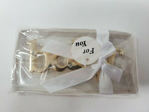 """""""baby"""" emblem in gold color w/ faux diamonds 1.5 in X 3.75 in New in gift box"""