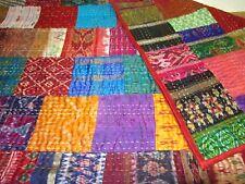 Handmade Vintage Gudri Pattola Silk Ekat Double Bedcover Patchwork Kantha Quilt