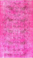 4x6.3 Ft Hot Pink Color OVERDYED Handmade Vintage Turkish Rug k279