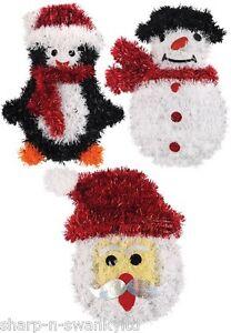 Super Cute Set of 3 Christmas Penguin Santa Snowman Tinsel Wall Decorations