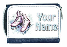 ICE SKATING BOOTS PERSONALISED LADIES / GIRLS DENIM PURSE *NAMED GIFT/PRESENT*