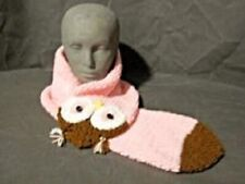 """HANDMADE """" PINK OWL """" SCARF - DOUBLE THICK NEW!"""