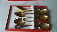 LOVELY VINTAGE BOXED SET SIX THAI  ENAMEL & BRONZE TEASPOONS-   BANGKOK
