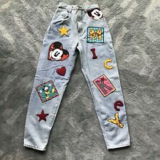 Vintage Mickey Jeans 27x29 Size 7/8 Cut And Sew Patches Disney