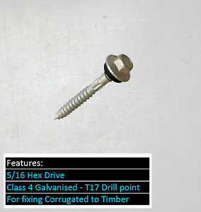 100 x Type 17 Hex Head Roofing Screw 12-11x50mm Galv Class 4 Roofing Custom Orb