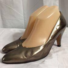 "Salvatore Ferragamo Size 9.5AA Gold Classic 3"" Pump High Heel Shoes Italy"
