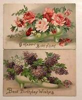 ~ Lot of 2 Victorian High Heel Shoes & Flowers Antique Greetings Postcards-p915