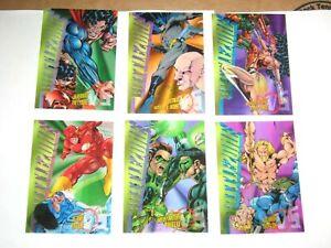 1995 DC LEGENDS POWER CHROME BATTLEZONE CLEARCHROME INSERT 6 CARD SET B1 - B6!
