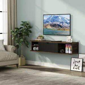 Wall Mounted Media Console with Door Vintage Brown Floating Shelf for CDs Stereo