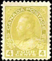 Mint NG Canada 4c 1925 F+ Scott #110 King George V Admiral Issue Stamp