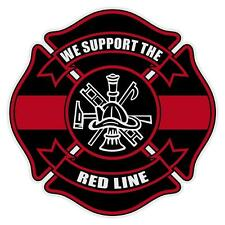 Firefighter We Support The Red Line Reflective Large Maltese Cross Decal Sticker