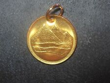 18MM EGYPTIAN EGYPT COPPER GOLD VINTAGE TUT DESERT PYRAMID COIN PENDANT CHARM