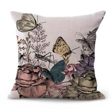 Us Seller- art nouveau rose butterfly floral throw pillow case for sofa