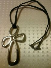 FOSSIL BRAND ELEGANT STEEL CROSS NECKLACE COLLANA IN ACCIAIO CROCE A 4
