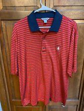 Slazenger Cog Hill Dubsdread Golf Polo Shirt Red Blue Tan Striped Men L
