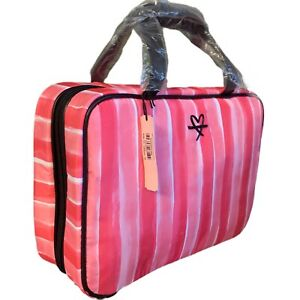 Victorias Secret Striped Pink Hanging Travel Train Case Cosmetic Bag NWT
