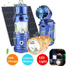 LED Camping Hiking Outdoor Light Portable Tent Solar Power Lamp Lantern And Fan