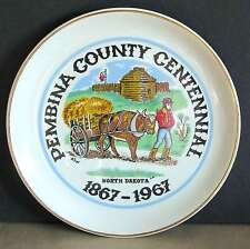 Fort Pembina County Centennial ND 1875-1975 Plate Historical Oxcart FREE SH