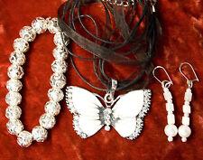 jewelry set new  white Butterfly pendant glass bracelet earrings silver tone