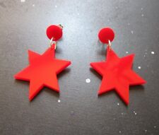 Sailor Mars Cosplay Costume Red 6 Point Star Stud Dangle Earrings