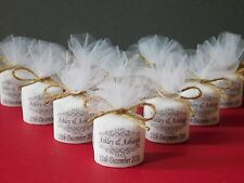 Personalised Votive Candle Wedding Favours Vintage Swirl Design With Inscription