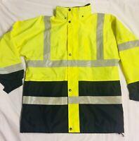 Men's Large CornerStone Port Authority Safety Jacket Black Yellow Silver CSJ24