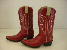 Womens sz 6.5 M Frye Daisy Duke Red Leather Silver Studded Cowboy Western Boots