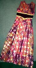 Vintage 1960s ❤~SiZe M Chiffron Metallic Psychedelic Formal Maxi Dress Gown 60s