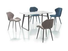 Glastisch Küchentisch 140x80 Esstisch Esszimmertisch Metallgestell Schwarz Tisch