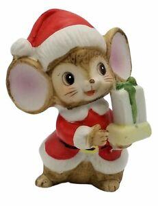 "Homco Santa Mouse Christmas FIgurine Holding Gift 3 1/4"" w/Label"
