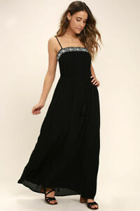 Beauty at the Beach Black Embroidered Maxi Dress - XS Lulus
