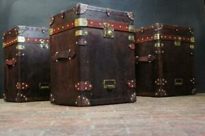 English Vintage Inspired Leather Campaign Chests Side Tables
