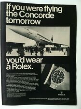 1969 ROLEX SUBMARINER WATCH PRINT ADVERTISING - IF YOU WERE FLYING CONCORD .. AD
