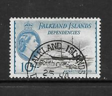 1954 Queen Elizabeth SG G39 10/-  Black & Blue  Fine Used Falkland Dependencies