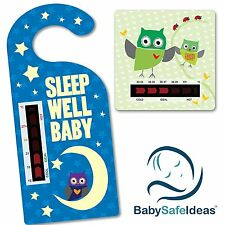Sleep Well Baby Nursery Room Thermometer and Owl Baby Bath Thermometer