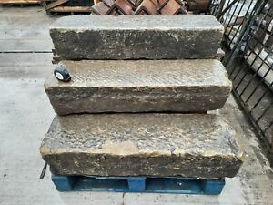 """Reclaimed Rustic Tooled York Stone Steps Threshold 42"""" Long"""