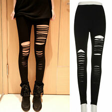 Women Lady Punk Hole Ripped Slit Split Leggings Party Gothic S@