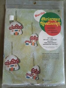 Vtg Bucilla Christmas Mushroom Fantasy  Jeweled Ornaments Kit 1639 MCM 1973 Rare