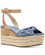 MICHAEL KORS MAXWELL MID WEDGE WASHED DENIM WOMEN'S SANDALS OPEN TOE MULTI SIZES