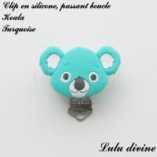 Pince / Clip en silicone, attache tétine, passant boucle, Koala : Turquoise
