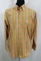 Tay Do Mens Large Long Sleeve Dress Casual Shirt Button Up Orange Yellow Brown