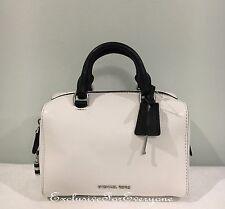 NWT Michael Kors Kirby XS Mini Satchel Crossbody White Black Leather Bag $248